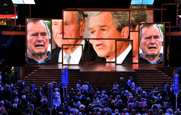 Video featuring former Presidents George H.W. Bush and George W. Bush is shown at the Tampa Bay Times Forum in Tampa during the Republican National Convention.