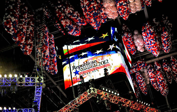 Thousands of balloons are poised to drop Thursday night after Mitt Romney's speech at the Republican National Convention.