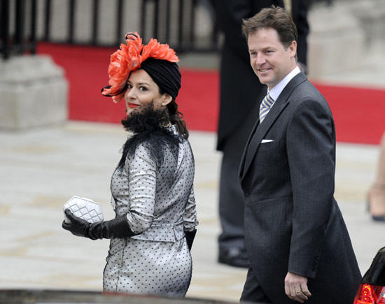 "British Deputy Prime Minister Nick Clegg and his wife Miriam Gonzalez Duantez arrive at the wedding.<br> <br> <a href=""http://framework.latimes.com/2011/04/29/royal-wedding-london-prince-william-kate-middleton/#/0""><b>Photo gallery: Prince William and Kate Middleton are married</b></a><br> <br> <a href=""http://www.latimes.com/news/nationworld/world/royal-wedding-dress-pictures,0,1460803.photogallery""><b>Photo gallery: The royal wedding dress</b></a>"