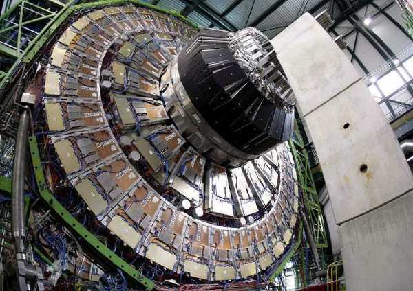 The magnet core of the world's largest superconducting solenoid magnet, part of the Large Hadron Collider, is shown.