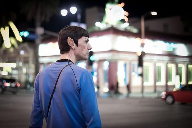 Live long and prosper: Chris Jackson shot this photo of a street performer dressed as Star Trek character Spock on Hollywood Boulevard on Friday.