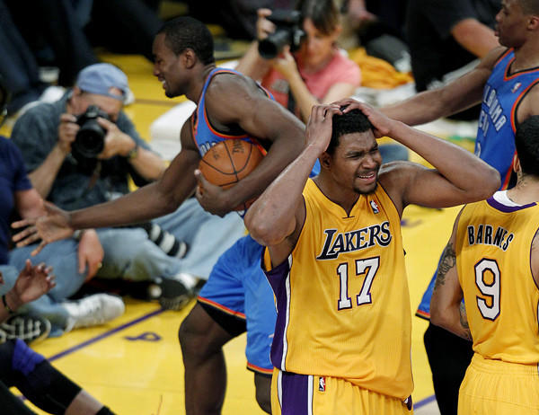 Andrew Bynum reacts to a foul call in the second half of Game 4.