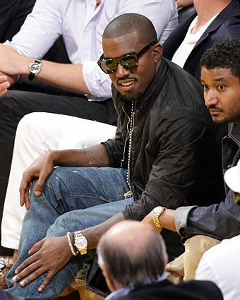 Rapper Kanye West attends Game 1 of the NBA Finals between the Los Angeles Lakers and the Orlando Magic at Staples Center.