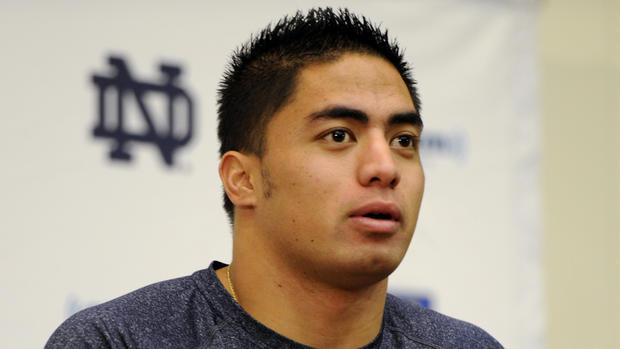 Notre Dame linebacker Manti Te'o plays a game in September the week after his grandmother and girlfriend died. It's discovered in January that the girlfriend doesn't exist. She was created online by another person and Te'o was either the victim of a hoax or participated in it.