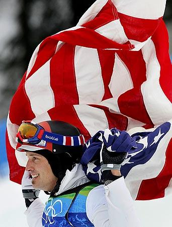 American snowboarder Seth Wescott celebrates after winning a gold medal.