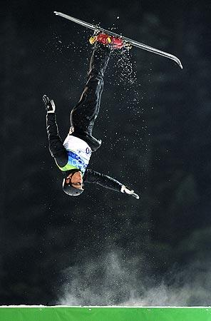 Belarusian Alexei Grishin performs a gold-medal-winning jump during the men's aerials competition.