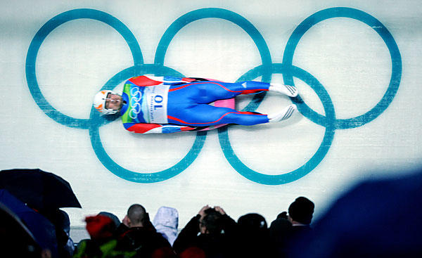 Russia's Albert Demtschenko rounds the final turn during the men's luge competition in Whistler, Canada.