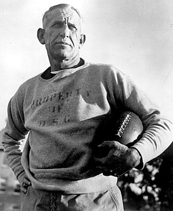 Coach Howard Jones, shown in 1939 when the Trojans tied UCLA, 0-0, guided USC to national titles in 1928, '31, '32 and '39. USC established its football program in 1888 while UCLA began playing in 1919. The two L.A. rivals first played against each other in the 1929 season opener and again in the 1930 season opener, with the Trojans taking 76-0 and 52-0 victories. The series resumed as an annual game in 1936, when UCLA broke through to forge a 7-7 tie.