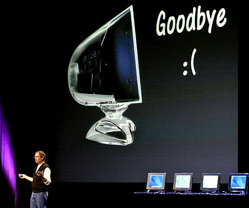 Apple will stop producing cathode ray tube displays, Jobs announces during the Apple Developers Conference in San Jose. He said Apple would be the first major computer company to produce all LCD displays.