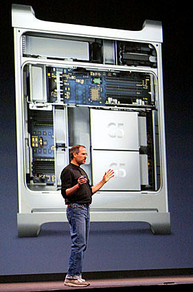 Steve Jobs delivers the keynote address at the Worldwide Developers Conference in San Francisco, announcing the new Power Mac G5 desktop computer.