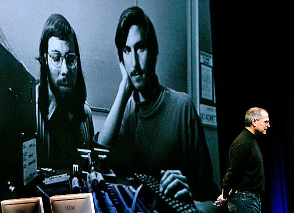 Jobs stands in front of an old photo of himself, right, and Apple co-founder Steve Wozniak, left, during  his keynote address at the 2006 Macworld conference.