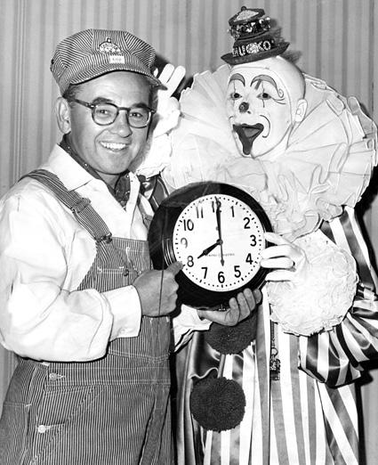 "William ""Engineer Bill"" Stulla, left, is seen with Chucko the Clown. Stulla hosted ""Cartoon Express,"" a popular Los Angeles-area children's television show that ran from 1954 to 1966."