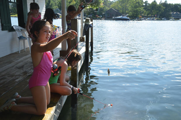 Catch-and-release fishing for sunfish is a common kids' pursuit on Lake George.