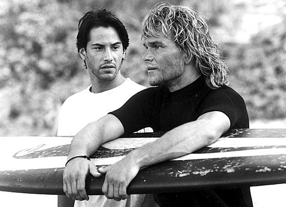 "Patrick Swayze played surfer Bhodi, whose surfing crew was being investigated by undercover FBI agent Johnny Utah (played by Keanu Reeves), in the 1991 action film ""Point Break."""
