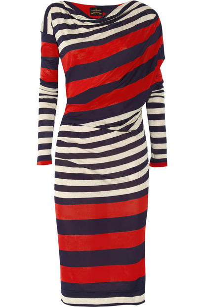 "Leave it to Vivienne Westwood to come up with an asymmetrical tricolor dress with a flattering cut appropriate for this holiday and every other day of the year. Her Anglomania Toga striped jersey dress ($430, <a href=""http://www.net-a-porter.com/"">Net-a-porter.com</a>) is sure to spark some fireworks on its own."