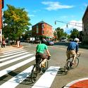 Biking through Harvard Square