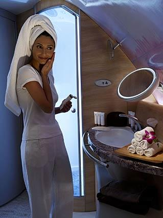<i>Shower spa</i><br> <br> Emirates' superjumbo jets come with two shower spas in first class, a new feature to the A380.