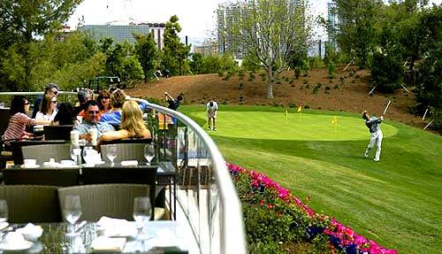 Guests at the Wynn can tee off at the golf course or just gaze as they graze. The resort, on the site of the Desert Inn, is a little less showy than the Bellagio.
