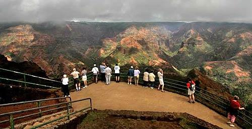 Kauai's Waimea Canyon, accessible from Hawaii Highway 550, is 10 miles long and as deep as 3,000 feet.