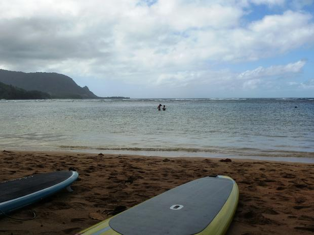 "The public beach near the St. Regis hotel in Princeville offers snorkeling and paddle boarding, even when the surf's up. If you loved ""South Pacific,"" you can see Bali Hai from here."