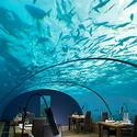 Ithaa Undersea restaurant at the Conrad Maldives Rangali Island in the Maldives