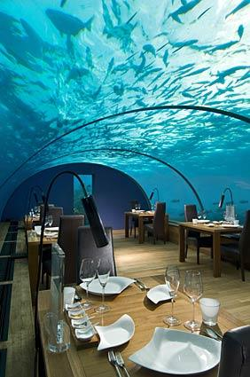 Diners eat beneath glass walls at the Ithaa Undersea restaurant. The cuisine is decribed as Maldivian-Western, and the restaurant seats about 12.