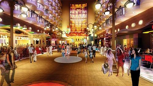 The ship's Boardwalk, shown in this artist rendering, offers family-oriented entertainment, including a carousel, restaurants and shops.