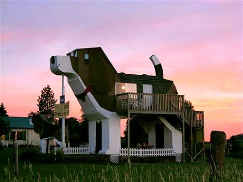 "Inside, the Dog Bark Park Inn is your typical B&B. There's a bed, breakfast table and small refrigerator among other amenities. From the outside, it looks like a gigantic beagle.<br> <br> The Dog Bark Park Inn is housed inside a dog-shaped structure. Guests enter by ascending a flight of stairs that takes them to the B&B's second-story entrance. The B&B sleeps four, two on a queen bed and two on side-by-side twin futons perched inside the beagle's head.<br> <br> More info: <a href=""http://dogbarkparkinn.com"">http://dogbarkparkinn.com</a><br> <br> -- Jason La"