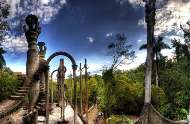 "Las Pozas, which means ""the pools"" in Spanish, is a collection of surrealist structures created by English aristocrat Edward James. Born into wealth, James left his English mansion to create a fantasyland amid central Mexico's jungle. Besides its multitude of pools, Las Pozas' 20 acres include a staircase to nowhere and buildings with names such as ""House With Three Stories That Might Be Five"" and ""House With a Roof Like a Whale.""<br> <br> More info: <a href=""http://www.xilitla.org/"">www.xilitla.org/</a><br> <br> -- Jason La"