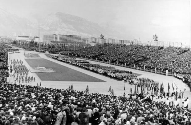 Athletes parade during the opening ceremony of the 1968 Winter Olympic Games.