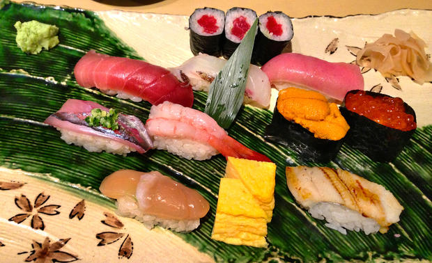 An assortment of sushi tempts at a Tokyo department store.