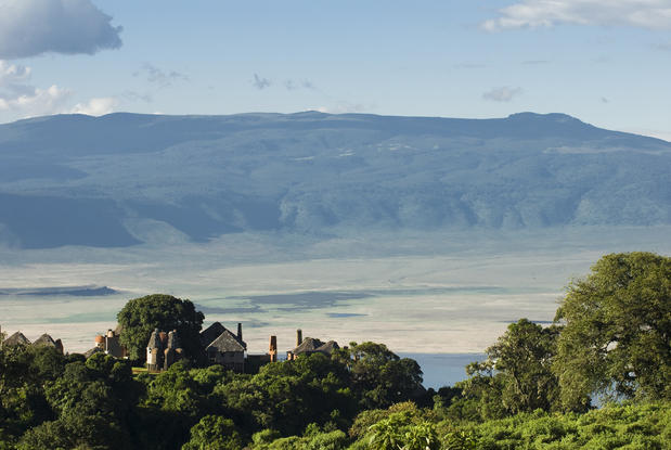 The Ngorongoro Crater, a UNESCO World Heritage Site, is home to almost every species of East African game and wildlife. The Ngorongoro Crater Lodge suites, with a contemporary take on Maasai mud-and-stick architecture,  have bird's-eye views of the crater floor.