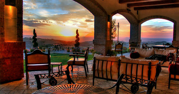 Sample wines at the Spanish Colonial-style Daou Vineyards, set atop a 2,200-foot promontory in the Adelaida mountains in Paso Robles.