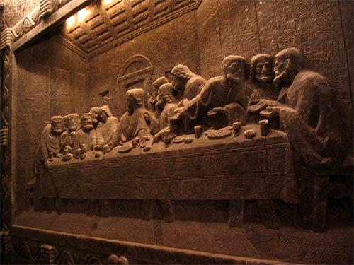 "<b>""The Last Supper,"" Wieliczka salt mine, Poland</b><br> <br> According to UNESCO, ""The historic salt mine in Wieliczka lies on nine levels, its major shafts, and 3,000 chambers stretch for the total of 186 miles, reaching the depth of over 1,000 feet."" We visited the old salt mine and the Chapel of Blessed Kinga, more than 300 feet below ground. The chapel's chandeliers consist of dangling salt crystals, the floor is carved as if it were tile. The many bas-reliefs (maybe 20 feet by 30 feet), include one of Leonardo da Vinci's ""The Last Supper,"" carved in salt, full-size, 300 feet underground. In a way, this reproduction is almost more of an artistic achievement than the original in Milan, Italy.<br> <br> <b>Info:</b> <a href=""http://www.kopalnia.pl"">www.kopalnia.pl</a><br> <br> -- Jim Humberd, Burbank"