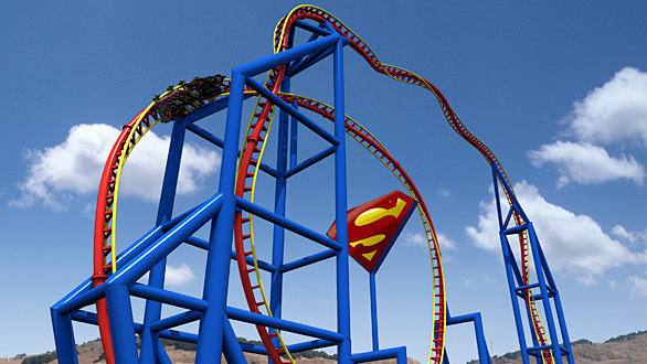 The Superman: Ultimate Flight launch coaster at Six Flags Discovery Kingdom in Vallejo will rocket riders at 60 miles per hour through a towering 150-foot-high inversion and a pair of vertical twists.