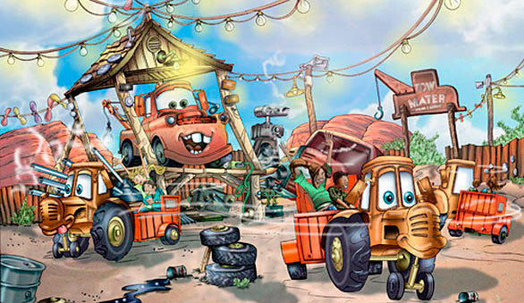 Mater's Junkyard Jamboree at Disney California Adventure take riders on a spinning tractor ride through Tow Mater's Towing & Salvage yard. The dizzying attraction blends a traditional teacup ride and classic whip ride with cars transferring from one spinning turntable to the next along a circuitous route.