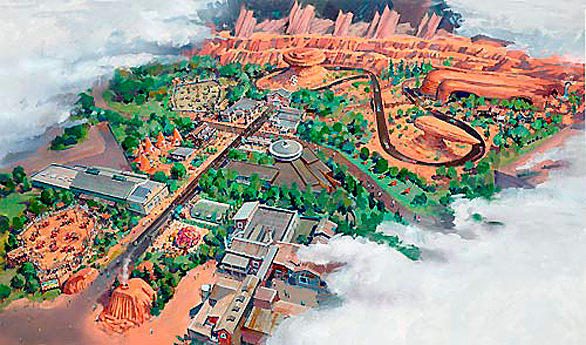 "1) Cars Land, the 12-acre themed land under construction at Disney California Adventure, will feature three new rides set amid a faithful re-creation of the isolated red rock desert town populated by Lightning McQueen and other animated vehicles in the Pixar movie ""Cars."""