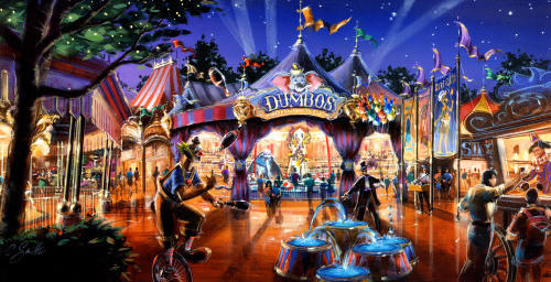 The remade Fantasyland area of the Magic Kingdom will feature a new circus tent theme for the existing Dumbo the Flying Elephant ride with interactive elements.