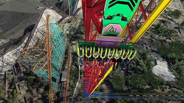 The 400-foot-tall Lex Luthor: Drop of Doom will be attached to both sides of the Valencia amusement park's 415-foot-tall Superman: Escape from Krypton coaster tower.