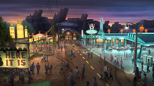 Radiator Springs will celebrate California¿s car culture with a nostalgic trip down Route 66 when the fictional film town built for and by cars makes its debut at Disney California Adventure in 2012.