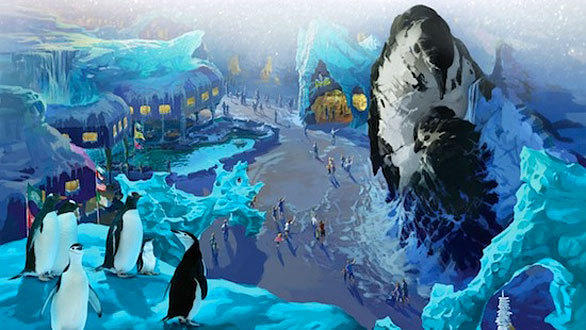 Antarctica: Empire of the Penguin will transform SeaWorld Orlando's 24-year-old Penguin Encounter habitat into a new winter-themed land with 55-foot-tall glaciers in the shape of nuzzling penguins towering over shops, restaurants and an as-yet-unannounced attraction. SeaWorld remains highly secretive about the new attraction, describing it only as a one-of-a-kind, family-friendly yet thrilling interactive ride offering varied adventures from a penguin's point of view.