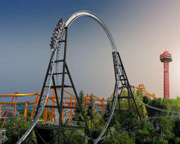 The Full Throttle launch coaster at Six Flags Magic Mountain will feature the world's tallest vertical loop (160 feet), with riders traversing the loop twice - once on the inside and again on the outside over a top hat element. Reaching 70 mph, the ride will feature three launches, including a backward launch.