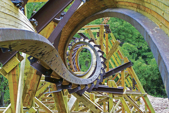 The $10 million Outlaw Run hybrid wood-steel coaster at Missouri's Silver Dollar City will feature a double barrel roll and a 153-degree over-banked turn with nine airtime hills.