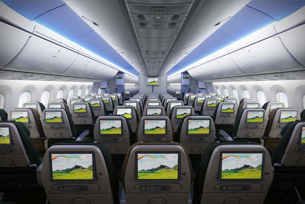 Economy class accommodates 246 passengers. Each has an 8.9-inch viewing monitor.