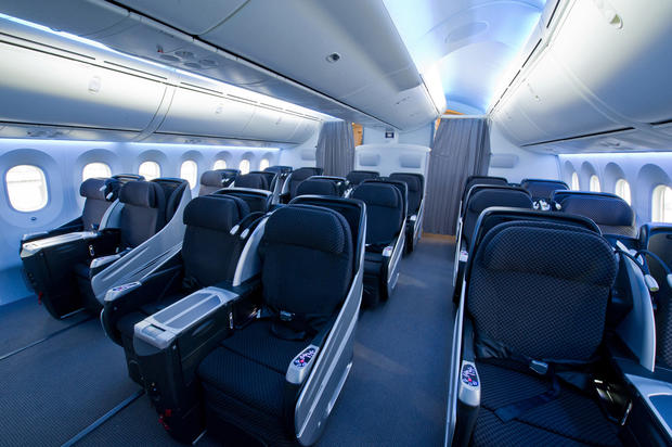 Passengers seated in business have 15.4-inch viewing monitors and noise-canceling headphones. Seats are 21.3 inches wide.