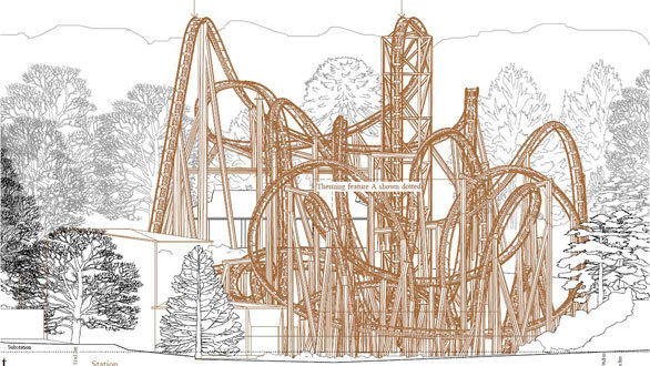 An elevation drawing showing a web of twists, turns and inversions on Alton Towers' new SW7 coaster.
