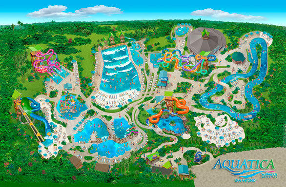 A bird's eye view of the 20-acre Aquatica water park at SeaWorld San Antonio.