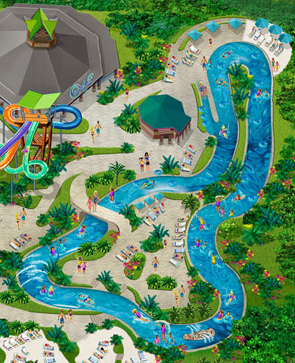 The 1,200-foot-long lazy river at SeaWorld San Antonio features jet tunnels, foam shooters and misters.