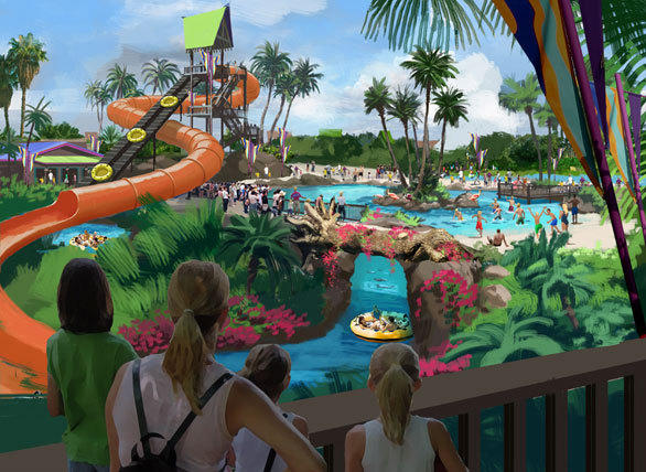 Concept art of the Stingray Falls slide at SeaWorld San Antonio.