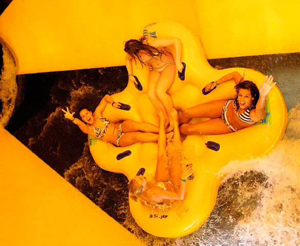 The Walhalla Wave slide at SeaWorld San Antonio employs four-seat cloverleaf rafts.